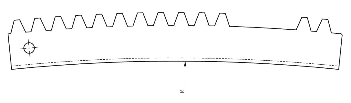 Schéma crémaillère courbée extérieur