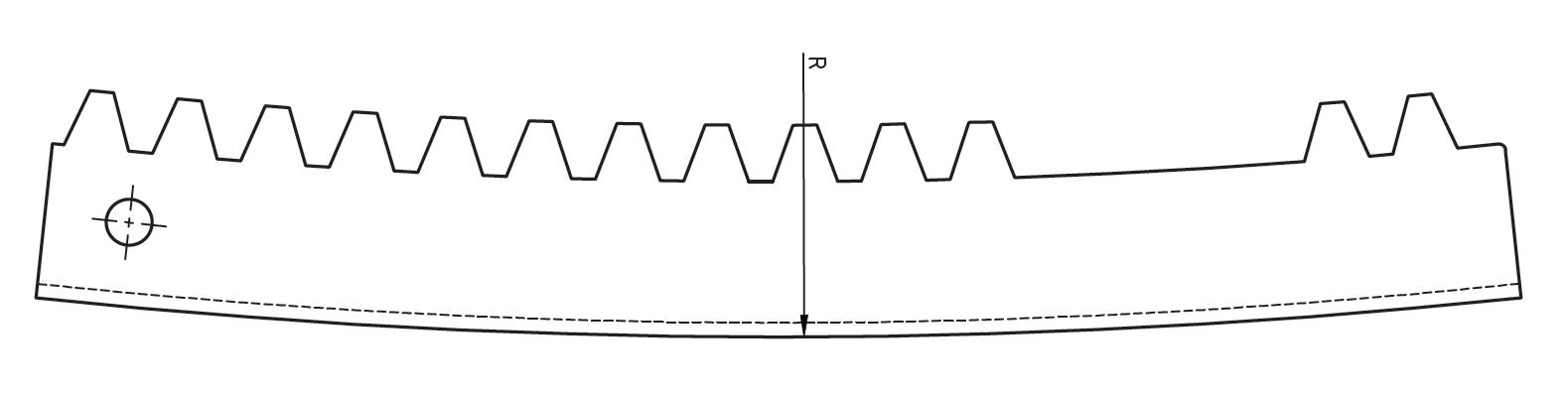 Schéma crémaillère courbée intérieur